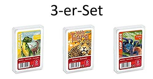 Ass Altenburger 3-er Set Quartettspiele/ Quartett Wildnis bestehend aus 1. Top Ass Dinosaurier - 2. Top Ass Wilde Tiere - 3. Top Ass Giftige Tiere