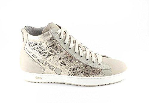 NERO GIARDINI 15241 platino scarpe donna sneaker alte lacci zip tallone