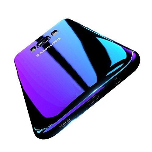 Samsung Galaxy S6 Edge Hülle, Gradient Transparent Farbe Ultradünnen Schutzhülle PC Handytasche für Samsung S7/S8 Plus Cover (Samsung Galaxy S6, Lila)