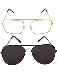 [Sponsored]Combo Of Raees Golden Transparent And Aviator Full Black Sunglasses For Men And Women