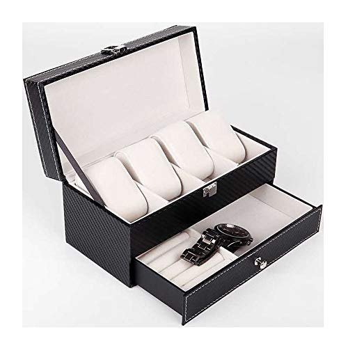 HongTeng Kohlefaser doppel schmuckschatulle 4 Uhr Box Halskette Ring aufbewahrungsbox -