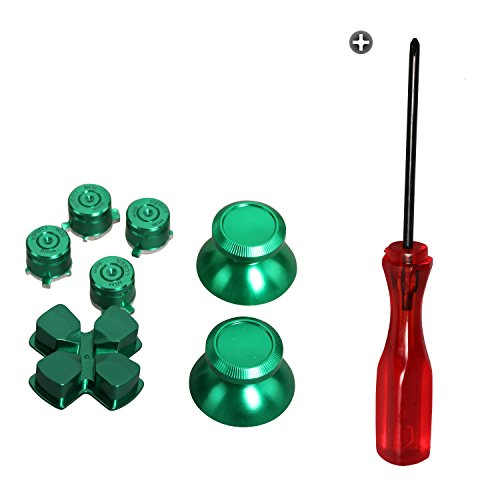 Timorn Ersatzteile Aluminium Metall Thumbsticks D-Pad Bullet Buttons Mod Kit für Playstation 4 PS4 Controller (Grünes Set)