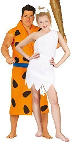 Paar Damen & Mens Höhlenmensch Höhlenmädchen Höhlenfrau Fred & Wilma TV Buch Film Cartoon 1960s Kostüm Verkleidung Outfit groß - Mehrfarbig, Mehrfarbig, Mens Large & Ladies UK (Film Kostüm Et)