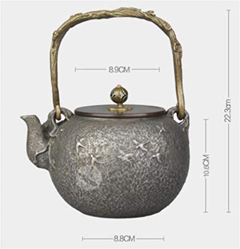 FJH Gusseisen Teekanne,Unlackierte handgemachte japanische Art 1.3LTea Wasserkocher