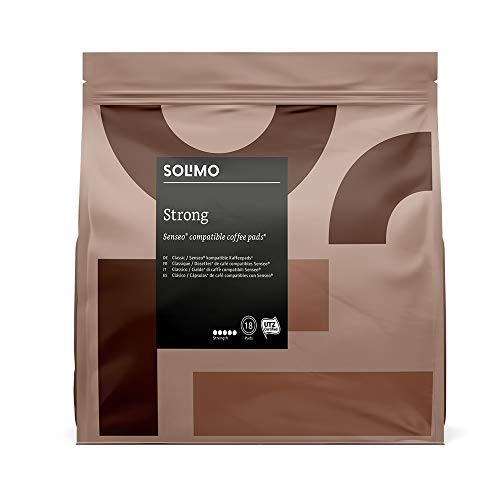 Marca Amazon- Solimo Cápsulas Strong, compatibles con Senseo*- café certificado UTZ, 90 cápsulas (5x18)
