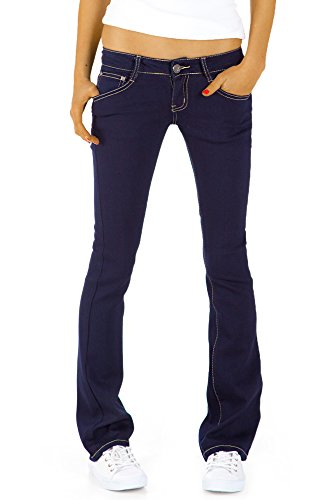 Bestyledberlin Damen Hüftjeans Jeanshosen, Bootcutjeans – Stretchjeans gerades Bein j43kw 40/L (Blue Womens Navy Strass)