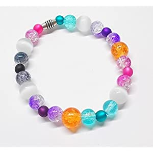 Armband elastisch mit bunten Glasperlen in Crash-Optik - Cateyeperlen - Polarisperlen - 19,5 cm