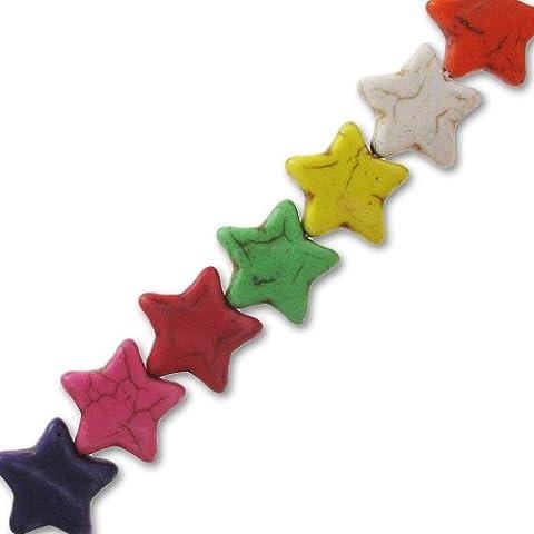Surtido estrellas de piedra teñida 14 mm Multicolor