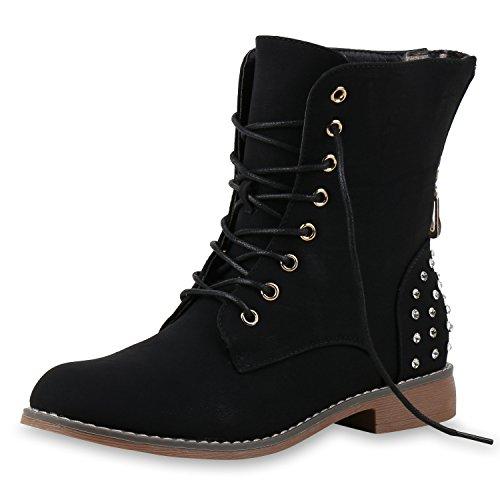 SCARPE VITA Damen Stiefeletten Boots Schnürstiefeletten Zipper Strass Schuhe 149602 Schwarz Strass Leicht Gefüttert 37