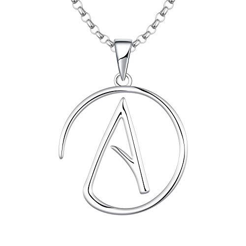 JO WISDOM Atheist Atheism Halskette, 925 Sterling Silber Emblem Amulett Anhänger mit Kette