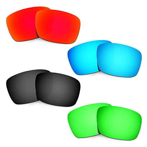 HKUCO Plus Mens Replacement Lenses For Oakley Fuel Cell Red/Blue/Black/Emerald Green Sunglasses