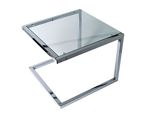 Leitmotiv U Shape Table d'Appoint Verre, Chrome, Taille M