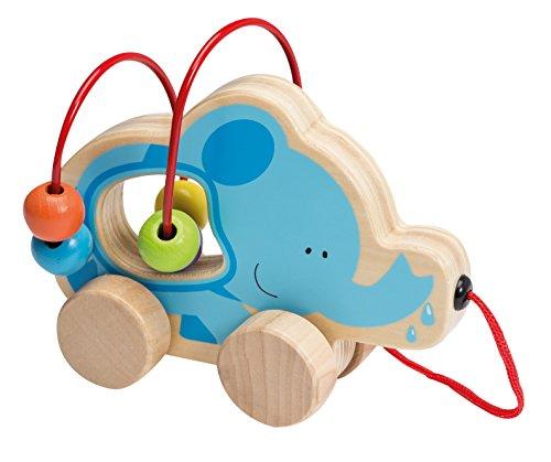 Joueco Mini-Motorikschleife Motorikspiel Hinterherziehtier Spielschleife für Kleinkinder mit bunten Kugeln und schönem Elefanten Motiv aus Holz