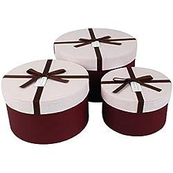 Emartbuy Ensemble de 3 Luxe Rigide Rond Boite Cadeau de Présentation, Boite Bordeaux Avec Couvercle Rose Texturé, Intérieur à Pois et Ruban Décoratif Bordeaux