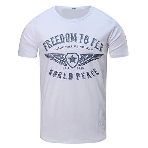 Auied Herren T-Shirt mit Frontprint und Rundhalsausschnitt - Farbmix Blau und ()