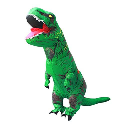 Halloween erwachsene aufblasbare T Rex Dinosaurier-Partei-Kostüm Lustige Kleid Grün mit Rucksack und ()