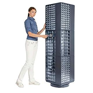 Drehständer für Schubladenmagazine - HxBxT 1800 x 460 x 460 mm, 3 Etagen - für Magazinformat 551 x 306 x 155 mm - ohne Magazine - Drehständer Lagersystem