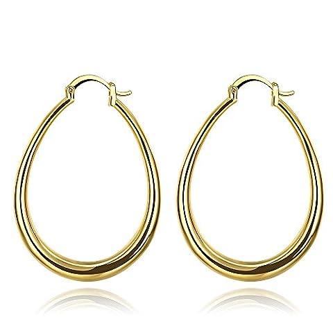 Bodya Mode Noble Style Jaune/plaqué or rose grands cercles Cool Boucles d'oreilles créoles Forme ovale pour fête - jaune or