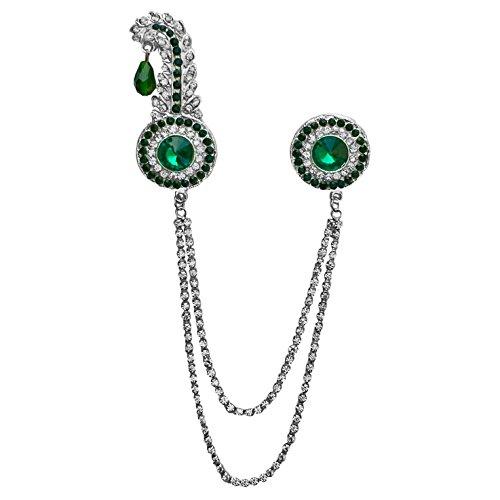 B-Fashionable Double Chain Round Kilangi Brooch (Green)