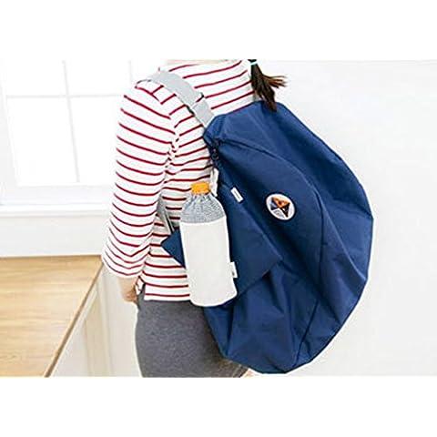 Corea de la manera más nueva estratagema de asas del viaje portable zapatos bolsa mochilas de ocio, (azul, 21.25 * 14.57 pulgadas)