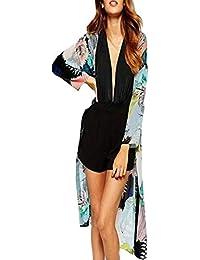 Las Mujeres Gasas Impresión Chal Flojo Kimono Cardigan Top Cover Up Blusa Beachwear Mujer Camisetas Manga Larga Elegante Abrigo Mujer Otoño…
