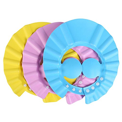 BESTOMZ Children Shower Cap Bathing Hair Washing Protection Hat Shampoo Shield for Kids Babies with Ear Protection Pads - 3 Pieces