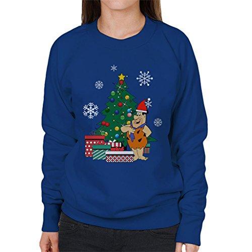 Fred Flintstone Around The Christmas Tree Women's Sweatshirt (Flintstones Bowling)