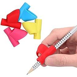 kwmobile Agarradores ergonómicos para lápices - 4x Empuñaduras de [silicona] con soporte para corrección de escritura - En div. colores