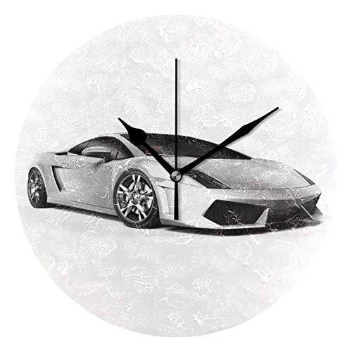 LISUMAL Eleganza di Auto Sportive con Design futuristico di riflessione delle Ruote,Sveglia Rotonda Senza Scala da 25 cm per Uso Domestico, Parete/Display, Stile retrò Rustico colorato Chic