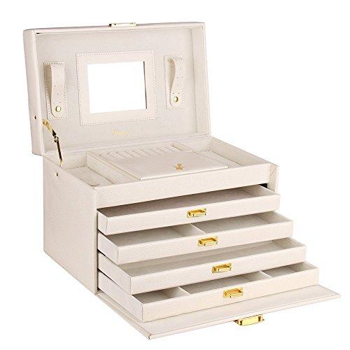 ROWLING Schmuckkoffer Schmuckkasten weiß Schmuckkästen Schmuckschatulle schatulle mit 4 Schubladen