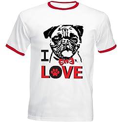 Teesquare1st I LOVE PUG 1 Tshirt de hombre con bordes rojos Size Medium