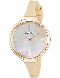 Calvin Klein Damen Armbanduhr Analog Quarz Silikon K4U236XE
