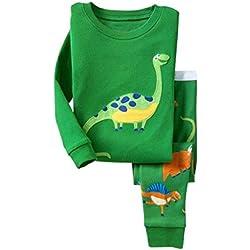 Niños Dinosaurio Pijamas Set Niños Ropa Set Niños Algodón Pjs Pijs Verde Pijamas 6-7Y
