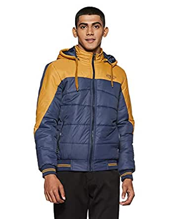 Qube By Fort Collins Men's Quilted Jacket (14743 SMU_Navy/Mustard_M)