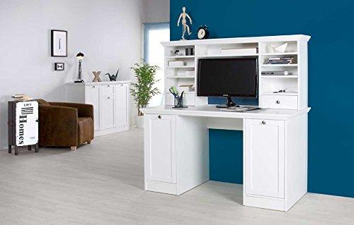 lifestyle4living Schreibtisch weiß mit Aufsatz, 2 Türen und 2 Einlegeböden, Aufsatz: 2 Schubkästen, 6 schmale und 1 breiter Einlegeboden,Maße:B/H/T ca. 136/137,5/63 cm