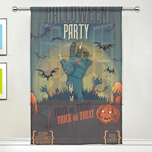 Halloween, Party, Kürbis, Vorhänge, Küche, Wohnzimmer, Dekoration, Schlafzimmer, Büro, Voile, 1 Stück, Multi, 55x78 inches ()