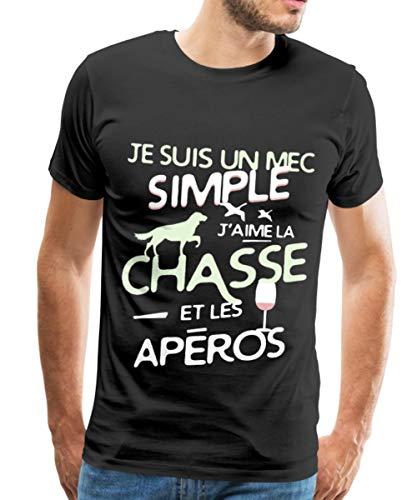 Spreadshirt J'aime La Chasse Et Les Apéros T-Shirt Premium Homme, XL, Noir