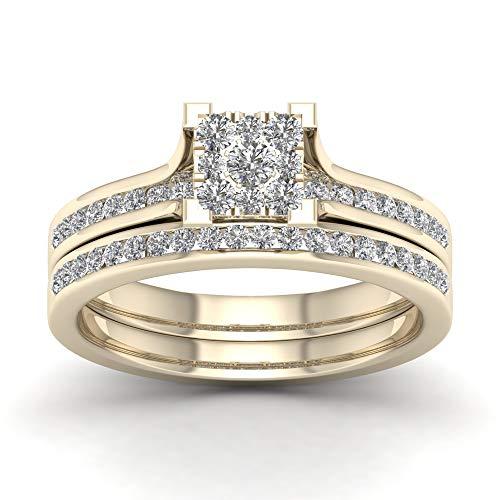 Anello di fidanzamento nuziale con anello di fidanzamento in oro da 10 carati, da 1/2 cttw (i2-clarity-h-i-color) e 10 ct oro giallo, 18,5, cod. hr-rb8830-8.5-y