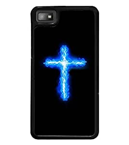 printtech Cross Streak Flaming Electric Back Case Cover for BlackBerry Z10
