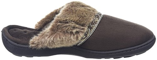Isotoner Pillowstep With Fur Cuff And Tape Trim, Chaussons femme Marron - Brown (Chocolate)