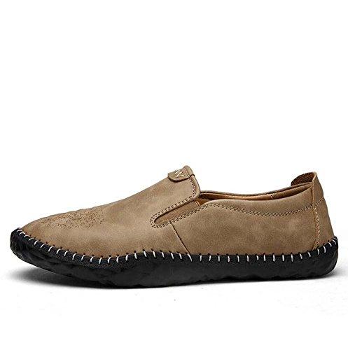 Onfly Pumpe Loafer Schlüpfen Beiläufig Leder Schuhe Pedal Schuhe Männer Mode Pure Farbe Anti-Rutsch Weiche Sohle Geprägt Lazy Schuhe Fahrschuhe Eu Größe 38-44 Brown