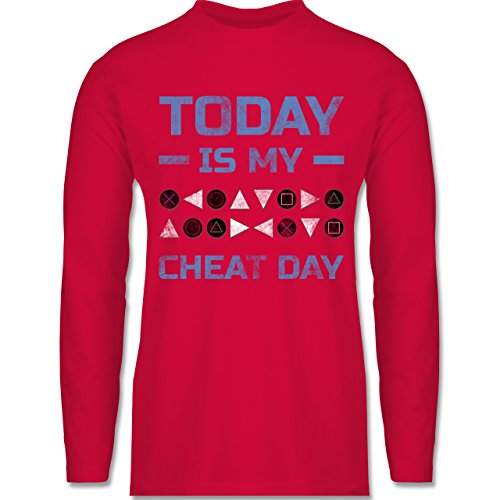 Shirtracer Nerds & Geeks - Today is My Cheat Day - Herren Langarmshirt Rot