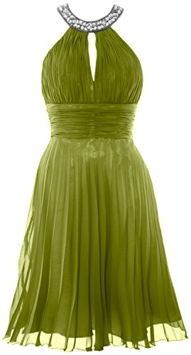 MACloth Women Halter Crystal Chiffon Short Evening Dress Cocktail Formal Gown Olive Green