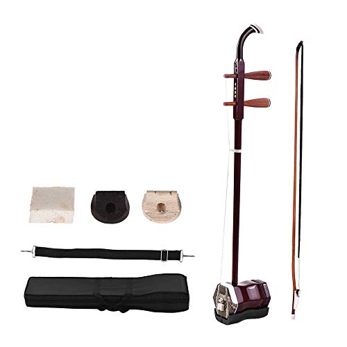 ammoon Solidwood Erhu Chinesische 2-saitige Violine Fiddle Stringed Musikinstrument Instrument Chinese 2-string Musikinstrument + Gratis Zubehör Dark Coffee Rot