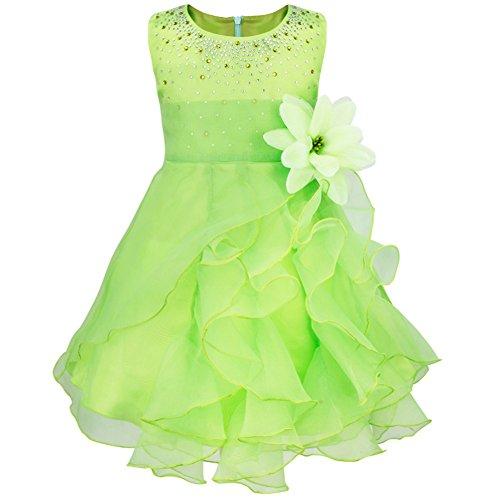 iiniim Vestido Niñas 0 a 3 Años Falda de Tutú con Diamantes de Imitación Flor Bowknot Vestido de Organza para Fiesta Cumpleaños Bautizo para Bebé Niña Verde 12-18 Meses