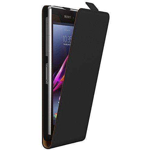PREMIUM - Flip Case für - Sony Xperia E4g - Wallet Cover Hülle Schutzhülle Etui Tasche Schwarz