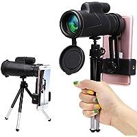 Télescope Monoculaire, Wilbest 12x50 Longue-vue HD, Anti-dérapant BAK4 Prisme FMC Revêtement avec 1 Roue 1 Trépied 1 Adaptateur, pour Téléphone pour Randonnée, Camping, Observation des Oiseaux