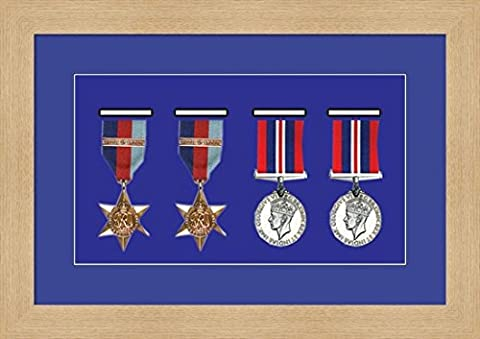 Kwik Picture Framing | Military / War / Sports Medal 3D Box Picture Frame Fits Four Medal - Oak Frame with Blue