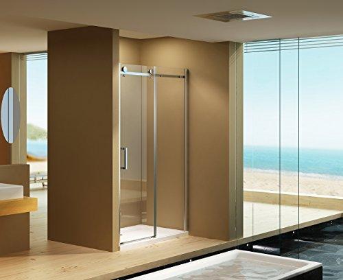 Preisvergleich Produktbild Nischentür Schiebetür Dusch Tür Victoria 120 x 195 / 8 mm / Modernes Schiebetür-Rollensystem