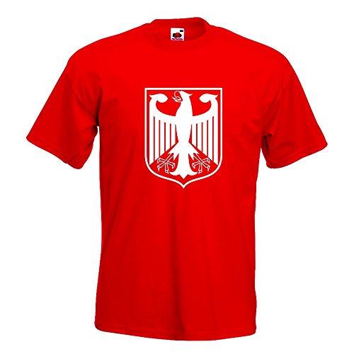 KIWISTAR - Bundeswappen Deutschland Rahmen T-Shirt in 15 verschiedenen Farben - Herren Funshirt bedruckt Design Sprüche Spruch Motive Oberteil Baumwolle Print Größe S M L XL XXL Rot